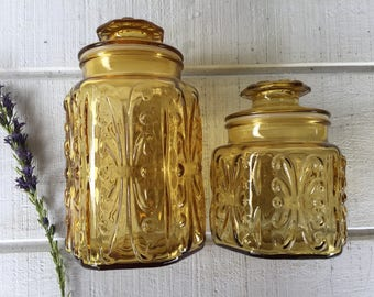 Vintage Imperial Glass Atterbury Scroll Canister amber jar, large glass apothecary jar, retro harvest gold glass jar, retro yellow canister
