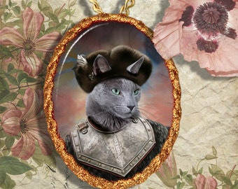 Russian Blue Cat Jewelry Pendant Necklace - Brooch Handcrafted Ceramic
