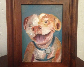 Oil Painting of a Happy Colorful Pitbull Smiling