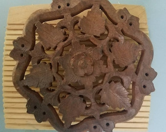 Trivet - ornate carved wood vintage trivet or decoration