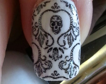 Skull Nail Art Damask Nails (SKD) Day of the Dead Full Long and Short Nails Wraps Waterslide Decal Water Slide Transfer Decal Stickers