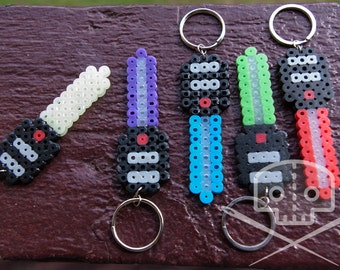 Star Wars-inspired Lightsaber keychain- Fusible Beads- Multiple colors