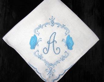 Handkerchief Wedding Vintage Monogrammed Blue Initial A M B H G S L N or P Hankies Letter Monogram Something Old Wedding