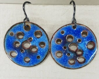 Artisan Earrings Torch Enameled One of a Kind