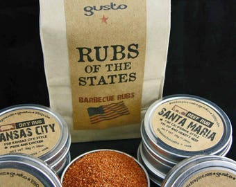 Gusto's Original Barbecue RUBS of the STATES BBQ Gift Set - Summer Grilling