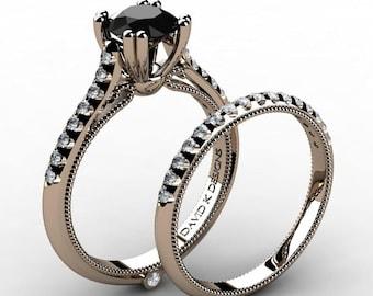 Classic Italian 14K Rose Gold 1.0 Ct Black And White Diamond Engagement Ring Wedding Band Set R1130S-14KRGDBD