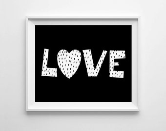 Black and white, Digital print, Love nursery, neutral art decor, Scandinavian printable, monochromatic art, instant download, kids room sign