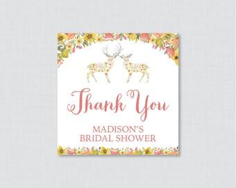 Woodland Bridal Shower Favor Tags Printable - Floral Woodland Deer Bridal Shower Favor Tags, Thank You Tags - Whimsical Wedding Shower 0022
