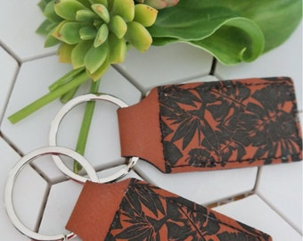Leather key chain. Tropical leather key ring