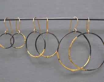 Steel and Gold Hoop Earrings- gold dipped hoops, thin hammered hoops, thin gold hoops, hand hammered hoops, lightweight hoops black and gold