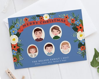 Christmas Card, Custom Christmas Card, Portrait Illustration, Illustrated Christmas Card, Custom Portrait Illustration, Family Portrait