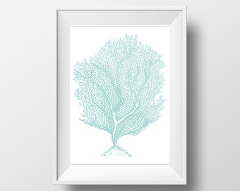 Sea Fan Print, Turquoise, See green color, Coral Printable, Printable Wall Art