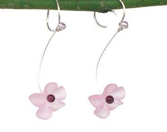 Laura Q  Light Pink & Garnet Lucite  earrings