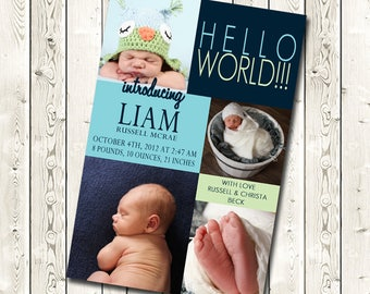 Birth Announcement, Baby Announcement, Birth Announcement with photo, Digital Download