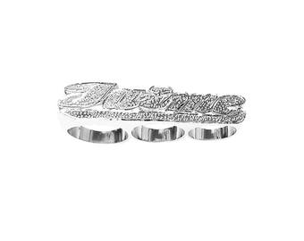 SNS092 Silver 13mm Three Finger Name Ring with Fave-cut