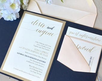 Pocket Invitations, Modern Calligraphy, Navy and Blush Invitations, Navy Pocket Invitations, Navy and Gold Invitations, Blush Monogram Band,