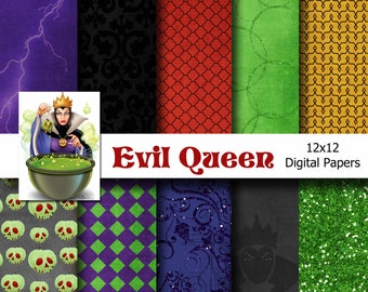 Disney Snow White - Evil Queen Inspired 12x12 Digital Paper Pack for Digital Scrapbooking, Party Supplies, etc -INSTANT DOWNLOAD -