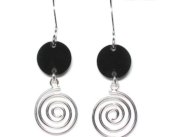 Into the abyss black crystal and sterling silver swirl earrings