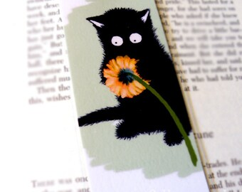 Black Cat with Flower Illustration Laminated Bookmark - Sammy the Cat Celebrates Spring