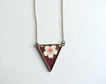 collier - Valse la chance / triangle washi violet