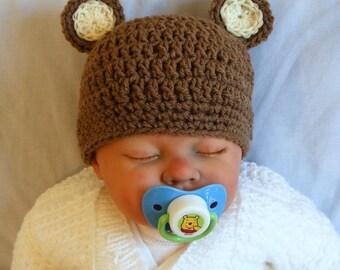 BROWN  BEAR BEANIE HAT