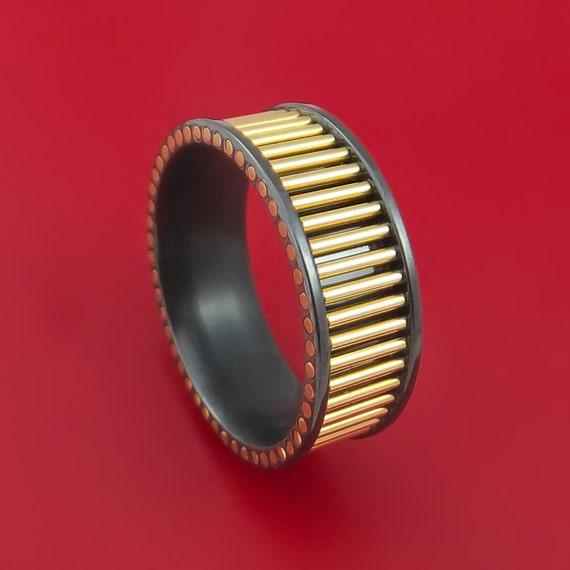 Black Zirconium And 14K Yellow Gold Rods Ring Custom Made Band
