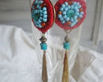 Earrings Boho Earrings gemstone and bead weaving, genuine Turquoise earrings, dangle earrings