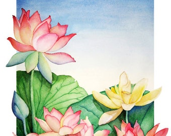 Water Lilies - High Quality Satin Finish Poster of Original Watercolor Painting
