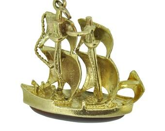 Vintage Gold Sailing Boat Charm