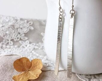 Silver Stick Earrings, Hammered Bar Earrings, Silver Bar Earrings, Minimalist Earrings, Slim Bar, Gift for Her,  Handmade, Sterling Silver