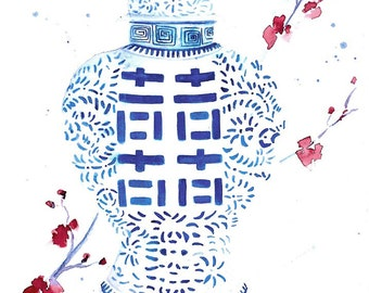 Cherry Blossoms, Double Happiness Jar, Chinese Jar, Ginger Jar Print, Blue and White Prints, Chinoiserie Art, Asian Art, Chinoiserie Vase