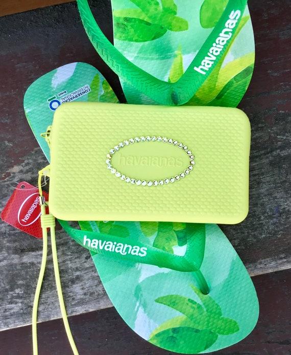 Yellow Havaianas Clutch Minibag Purse Bridal Wedding Wallet w/ Swarovski Crystal Wet Silicone Makeup Change Coin iPhone Rhinestone Case Gift