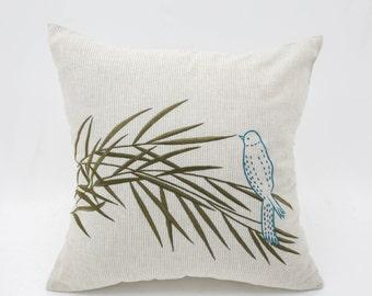 Bird Throw Pillow Cover, Brown Striped Linen Pillow Case, Bird Bamboo Embroidery, Bird Couch Pillow, Modern Home Decor, Bird Decoration