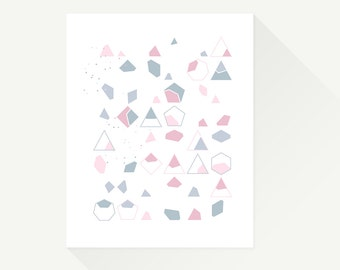 "Triangles + Pebbles. 8 x 10"". Geometric art print. Modern decor for kids room or nursery."