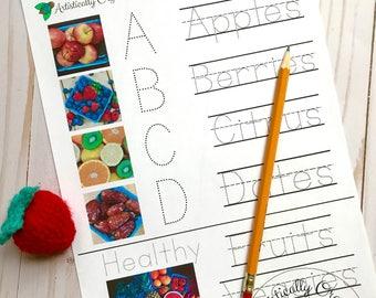 Fruit Spelling Real Images Worksheets Instant Download | Homeschooling, Spelling Worksheet