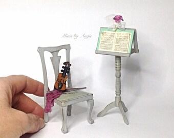 Music room set. Scale dollhouse miniature. 1:12