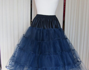 Navy Blue stiff net 4 layer petticoat with ribbon binding vintage style rock and roll dance tutu