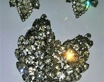 Weiss Rhinestone Brooch and Ear Rings