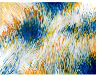 Large Original Abstract Painting, Modern Home Decor Wall Art, Acrylic on 30x40 Canvas, white royal blue orange yellow