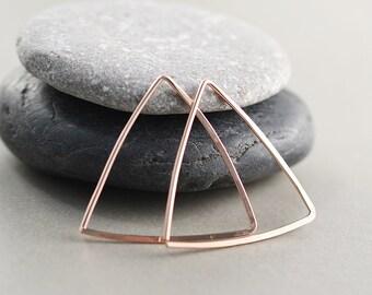 Rose Gold Triangle Hoops, Triangle Earrings, Geometric, Modern Hoops