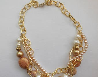 Ivory champagne bronze gold pearl chain twisted necklace statement pearl necklace