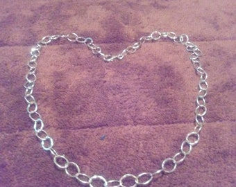 """Sterling Silver Hand Hammered Necklace Chain 16"""" long"""