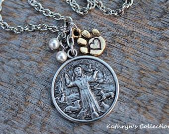 Francis of assisi etsy st francis of assisi medallion necklace animal caretaker gift patron saint of animals aloadofball Choice Image
