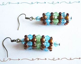 Beaded earrings, pastel Crystal