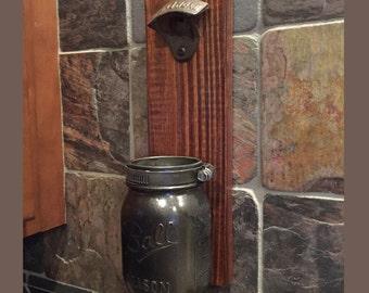 Mason Jar Bottle Opener, Beer Bottle Opener, Mason Jar, wall mounted bottle opener, Rustic Wall Mounted