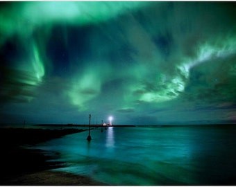 Nature Poster The Aurora Borealis Sky Lovely Northern Lights Colors 24x36