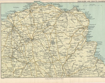1904 Giant's Causeway & Portrush Ireland Antique Map