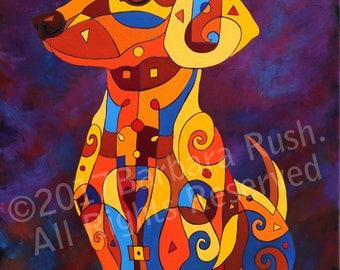 Dachshund Art, Colorful Dachshund Art, Dog Art, Home Decor, Dog Art Prints, Hot Dog Art, Wiener Dog Art