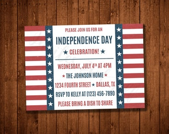 Modern 4th of July Independence Day Party Invitation (Printable)