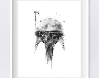 Boba Fett, Art Print, Watercolor, Wall Art, Star Wars, Hunter, Yoda, Darth Vader, Boba Fett Poster, Illustration, Download, Gift, Home Decor